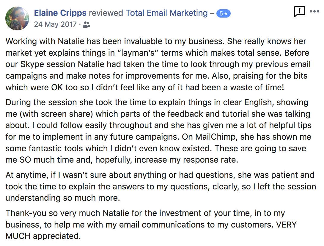 Testimonial from Elaine Cripps